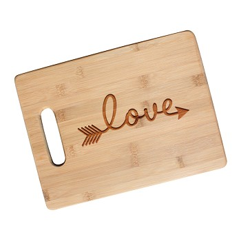 Love Arrow Engraved Cutting Board with Handle