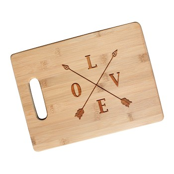 Love Arrows Crossed Engraved Cutting Board with Handle