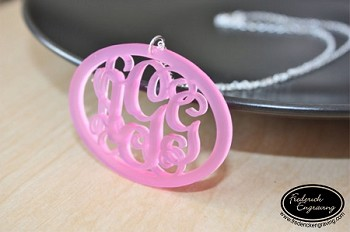 Oval Rimmed Script Monogram Necklace