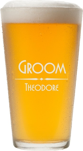 Modern Etched Pint Glass
