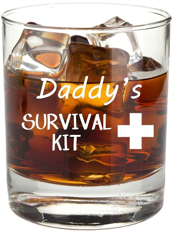 Daddy's Survival Kit Rocks Glass