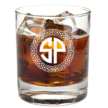 Personalized Celtic Circle Two Letter Monogram Rocks Glass