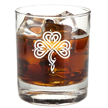 Stylized Celtic Shamrock Rocks Glass