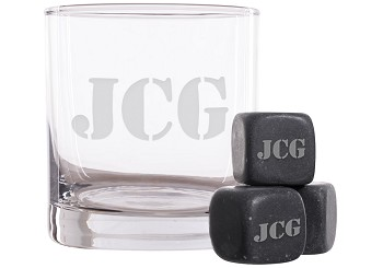 Personalized Roman Monogram Whiskey Glass and Stones