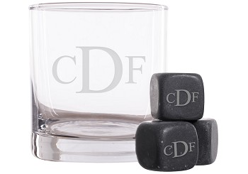 Personalized Serif Monogram Whiskey Glass and Stones