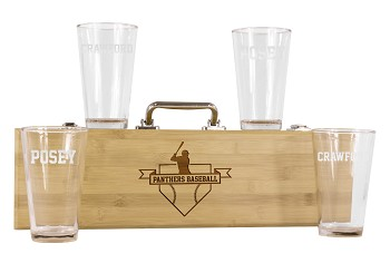 Personalized Baseball BBQ Grill Set with 4 Engraved Pint Glasses