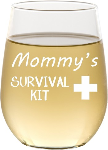Mommy's Survival Kit Stemless Wine Glass
