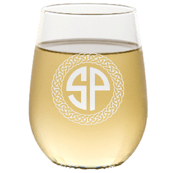 Personalized Celtic Circle Two Letter Monogram Stemless Wine Glass