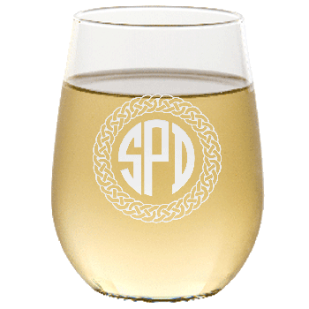 Personalized Celtic Circle Three Letter Monogram Stemless Wine Glass