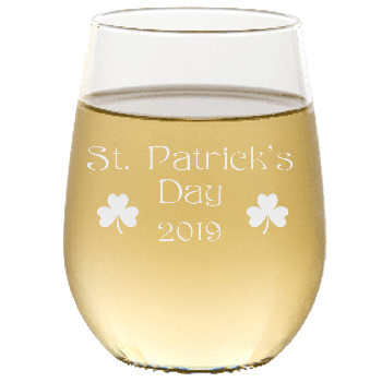 St. Patrick's Day Annual Stemless Wine Glass