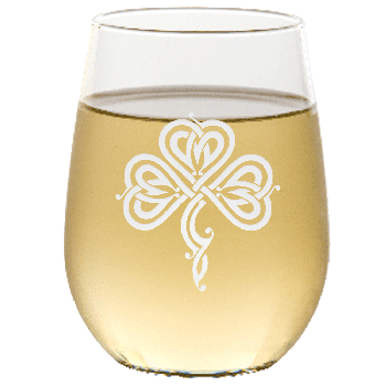 Stylized Celtic Shamrock Stemless Wine Glass