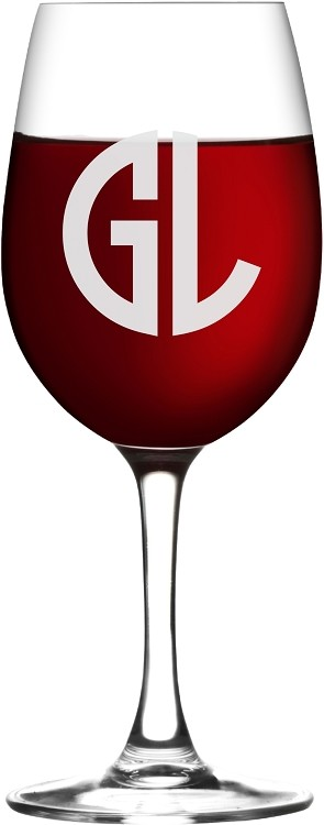 Two Initial Block Monogram Wine Glass