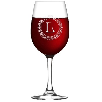 Personalized Celtic Circle Monogram Wine Glass