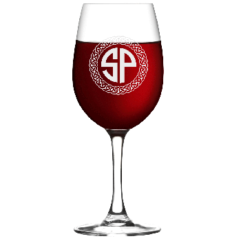 Personalized Celtic Circle Two Letter Monogram Wine Glass